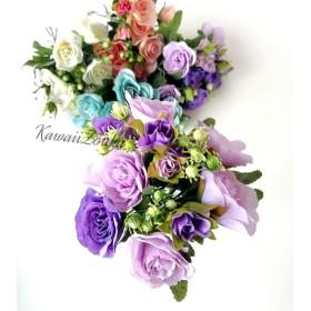 春の新作☆重なった花びらと蕾が可愛い花パープル5本セット 造花・アーティフィシャルフラワー