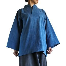 ジョムトン手織綿の着物風オリエンタルプルオーバー インディゴ(BFS-118-03)