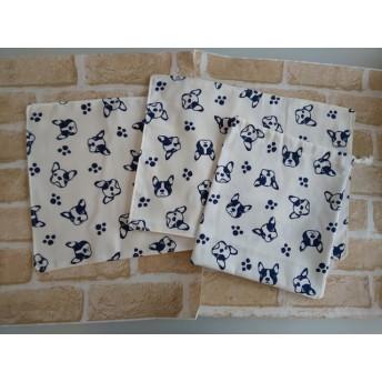 コップ袋1枚&ランチマット2枚set フレブルホワイト