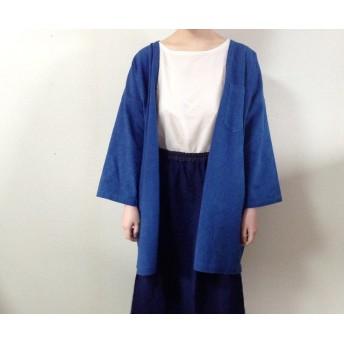 藍染めの上着 春の羽織りコート 刺し子