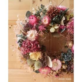 atelier blugra八ヶ岳〜 ジニアとスモークツリーのWreath