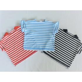 防蚊加工のボートネックフリル袖Tシャツ(100サイズ)