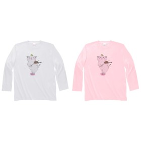 バイオリン猫の長袖Tシャツ