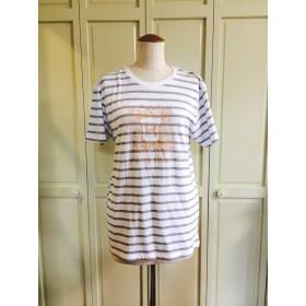Mサイズ・H.mildbludエンブレムTシャツ(白グレーボーダー×金)