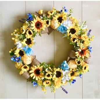 No. wreath-15058/★ヒマワリとラナンキュラスのリース(19)42cm・アートフラワー/造花リース
