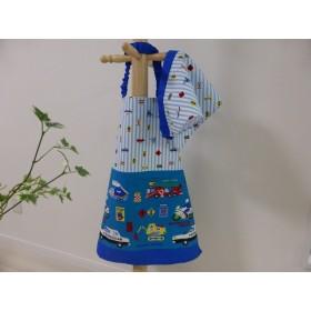 【ご依頼】くるま柄☆お子様エプロン&三角巾・巾着