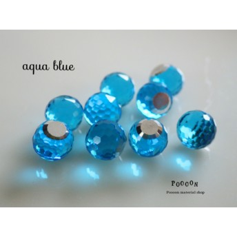 aqua blue ガラス disco 6mm 10個入