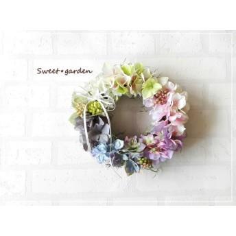 ふんわ~りやわらかな紫陽花のナチュラルリース(fw128)*玄関ドアなど外にも飾れるアーティフィシャルリース