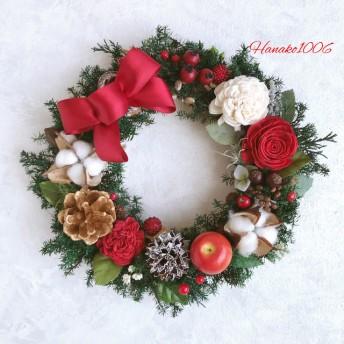 林檎とコットンフラワーのクリスマスリース