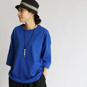 ●2020SALE●厚地 度詰 天竺コットン100% Tシャツ・カットソー 丸首 七分丈 ゆったり 青 ブルー G53B