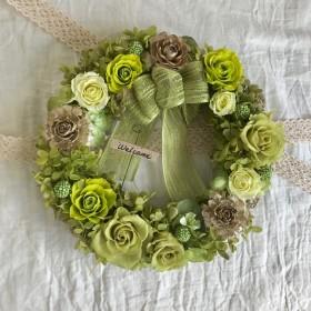 プリザーブドフラワーリース*薔薇、紫陽花*シダローズ*ソーラーローズ