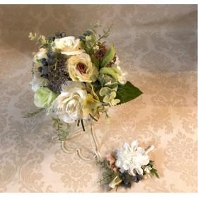 クラッチブーケ 髪飾り ブートニア オーダーブーケ 結婚式 アンティーク ウェディング 花かんむり 花ピン ブーケ