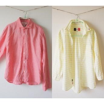 【ご予約】[古着]ハエワッペンシャツ2枚 リネン赤と黄ボーダー
