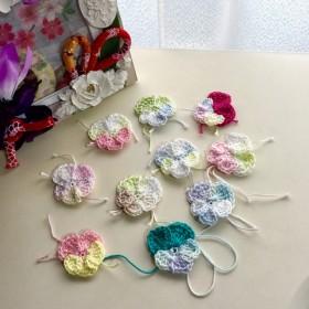 ★ のほほん パンジー ★ レース編み グラデーション編みパーツ