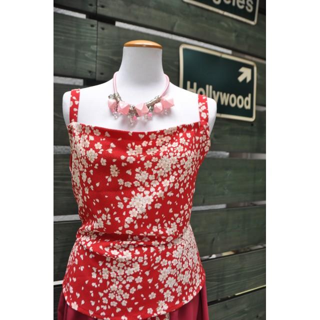 夏のラストセール桜着物リメイクスカート 裏付き上下セット・ネックレスの3点セット お花てんこもり