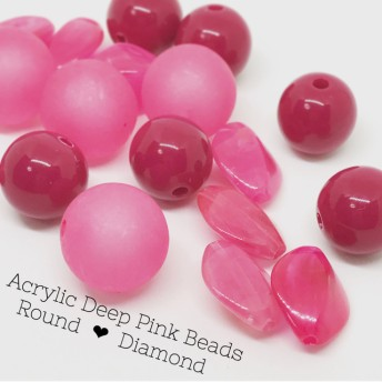 Acrylic Deep Pink Beads Round & Diamond 20pcs