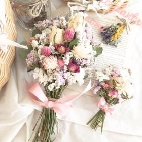[送料無料] ドライフラワー ミニミニスワッグ付き pink+white cuteスワッグ