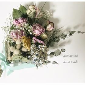芍薬とバラのアジサイスワッグ ティファニーブルーNo.56