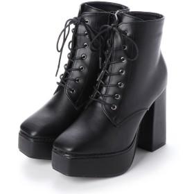マフモフ Mafmof Mafmof(マフモフ) BLACKスクエアトゥのショートブーツ (ブラック・PU)
