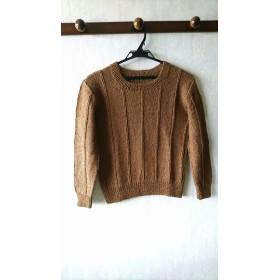 手編みウールセーター(ブラウン)