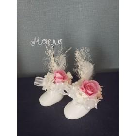 ベビーシューズ(ピンク)~天使の羽 ネームピック付