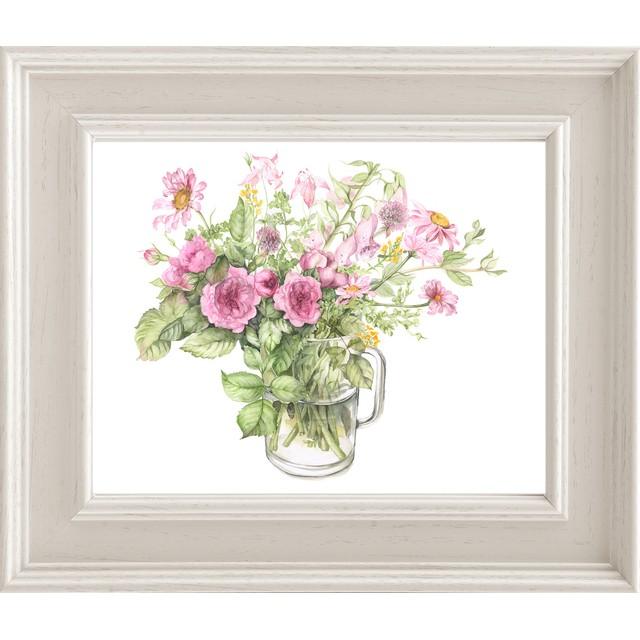 ピンクの花を集めたガーデン アートプリント(複製画)A059