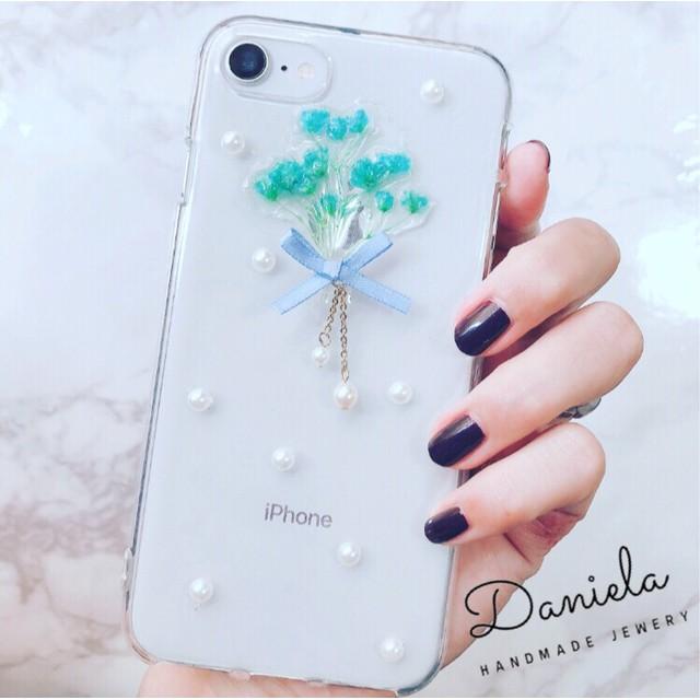 iPhoneケース ︎かすみ草のブーケ ︎リボン&パール