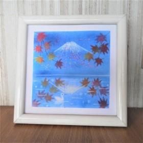 原画【富士山と紅葉 】額込パステルアート