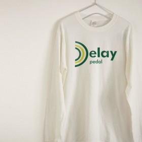 ディレイの文字が可愛い音楽系Tシャツ 長袖 ※送料無料※【ヴィンテージオフホワイト】 長袖クルーネックTシャツ
