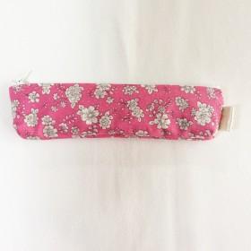 ペンケース スリムタイプ ピンク&花柄