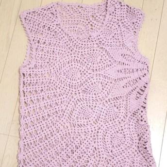 ピンク手編みベスト