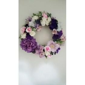 オーダーウインターリース 紫ピンクで秋色で華やかに アーティフィシャルフラワーアレンジメント