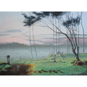 油絵風アクリル画 「朝霧のハーディング牧場」 P8キャンバス