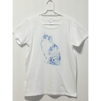 猫と綺麗なお花柄Tシャツ ブルー/モノクロ 受注制作