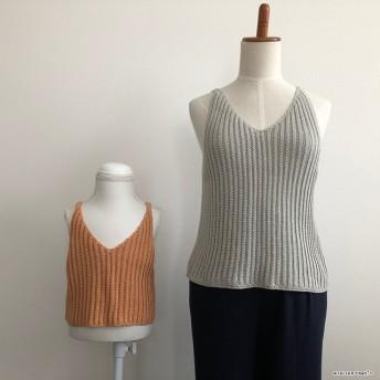 【編み図】畝編みで編むリブ編み風キャミソール(印刷版)