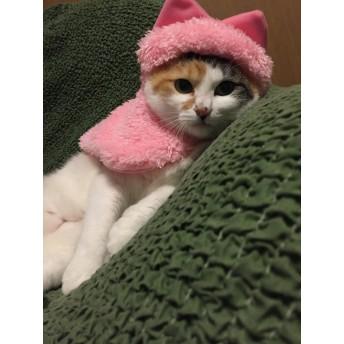 ピンクケープと帽子のセット