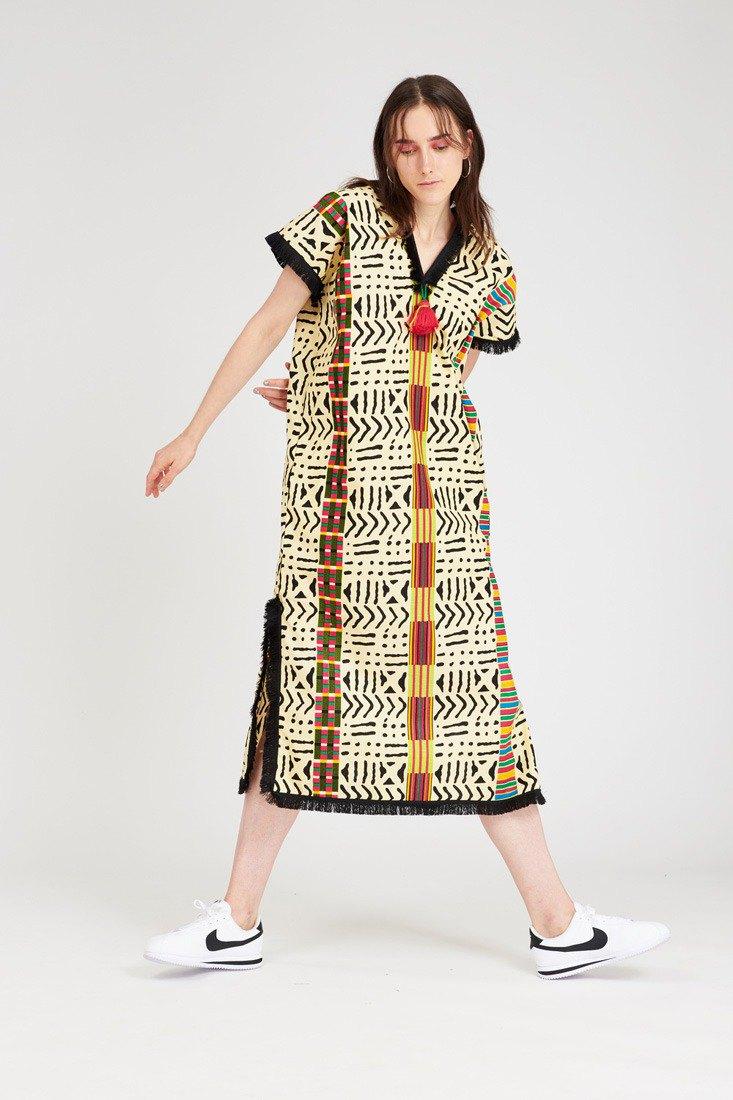 波西米亞連衣裙奶油色