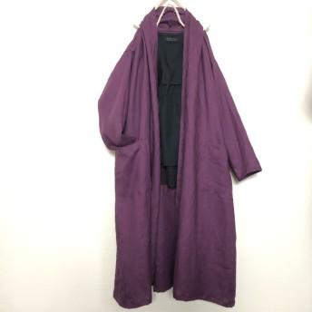 秋ふわとろ紫リネンローブロングカーディガン