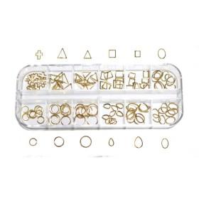 【jewel】カーブ付き メタルフレームパーツ 12種類 各10個入り (ゴールド)
