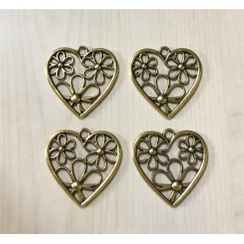 ANTIQUE GOLD HEART FLOWER CHARM PARTS