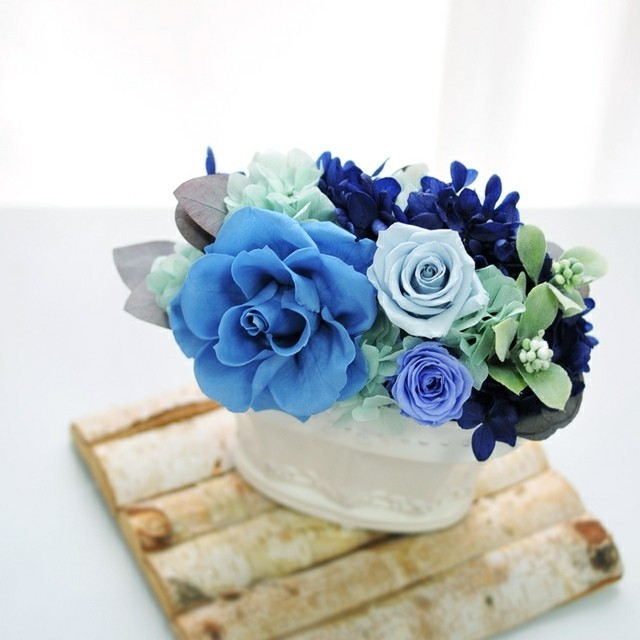 プリザーブドフラワーアレンジメント◇横型クラシカル花器◇スカイブルーBlue