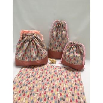 ランチ4点セット お弁当袋 ランチョンマット コップ袋 カトラリー袋(白くまピンク)