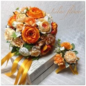 オレンジ アプリコット色のブーケ