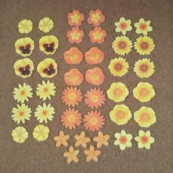 花のフレークシール(黄色・オレンジ色系)