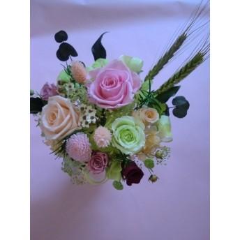 母の日、 お誕生日等の贈り物に【プリザーブドフラワー】心癒されるアンティークピンク