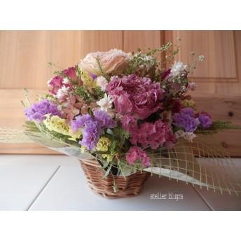 atelier blugra八ヶ岳〜春色小篭ラナンキュラスと薔薇