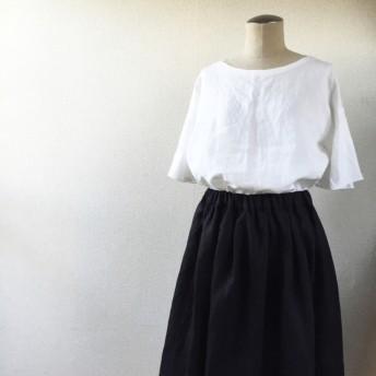 《受注製作》ブラック/カラーリネンのタックギャザースカート