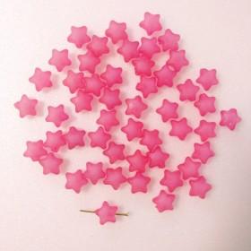 【再販!】すりガラス風 スター ビーズ ピンク 両穴 30個