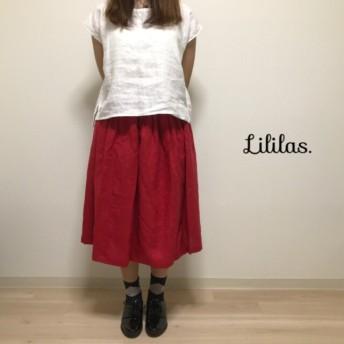 【再販×2】赤いリネンのギャザースカート
