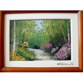 癒しの押し花風景画「散歩道」